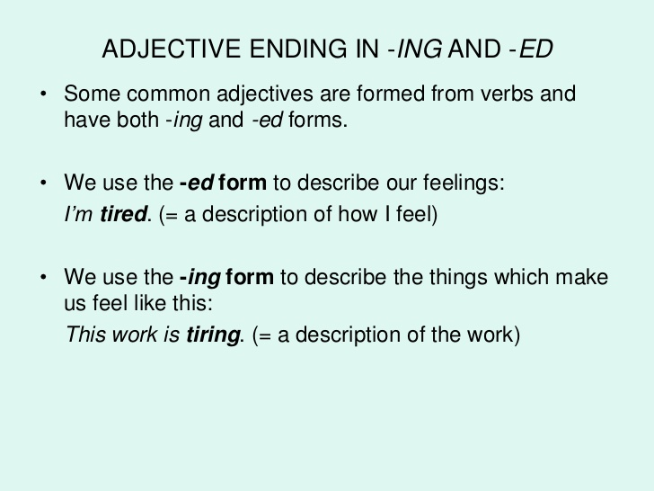 Ed And Ing Adjectives My English Blog