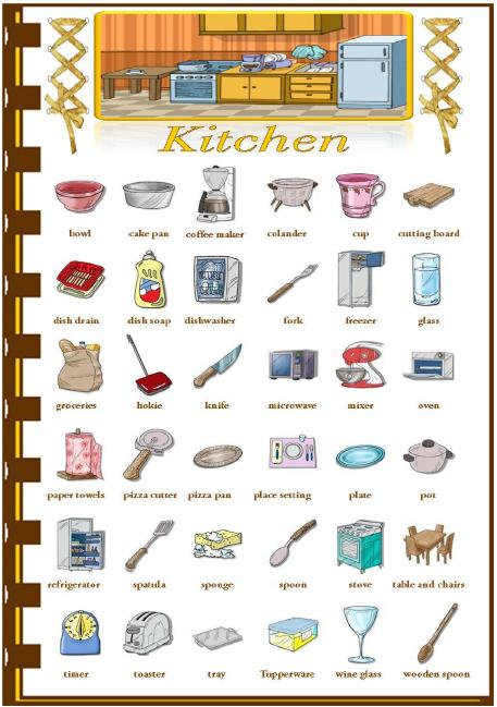 Kitchen Equipment Dictionary ~ House and furniture my english
